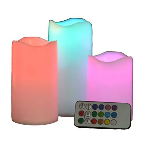 LED Kerzen Flammenlose Echtwachskerze Farbwechsel, Batteriebetriebene Kerzen mit Timer, Flammenlose Stumpenkerzen Außen- und Innenkerzen Dekorativ, 3er-Set