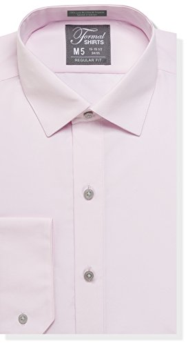 Luxe Microfiber Mens Regular Fit Solid Dress Shirt, Spread Collar - Style Denny Pink