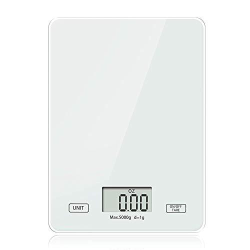 MUFENA Báscula de cocina, báscula de cocina digital con pantalla LCD de vidrio templado de 5 kg, alta precisión hasta 1 g, función de tara