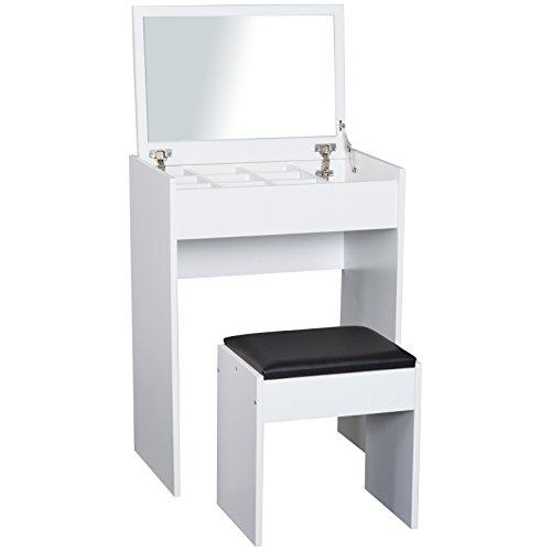 HOMCOM Coiffeuse Table de Maquillage avec Tabouret Miroir Rabattable 9 + 1 Compartiments intégrés 60L x 40l x 79H cm Blanc Noir