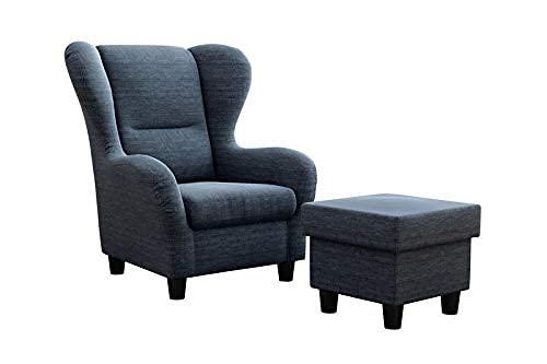 Möbelfreude Doluna Ohrensessel Blau Wohnzimmersessel mit Hocker