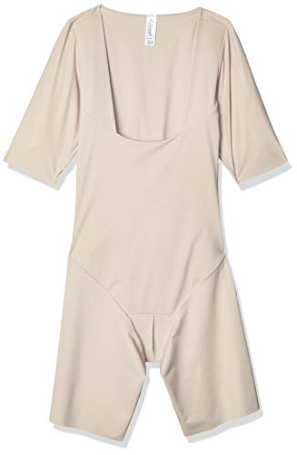 Leonisa Full Bodysuit with Tummy Control Butt Lifter Effect and arm Shaper - Open Bust Shapewear Beige