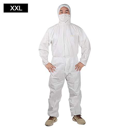 Wegwerp beschermende overall Wit pak Veiligheid Werkkleding Kleding Deeltjes Vloeistof Spatbestendige kleding(XXL)