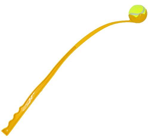 Ballwerfer mit Ball - Hundespielzeug - 70 cm - Ballschleuder Ball Launcher Gelb
