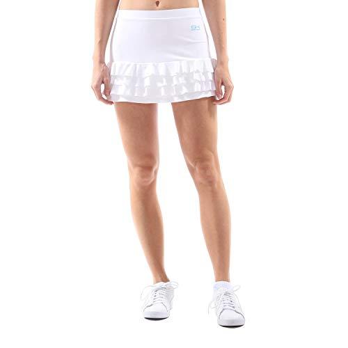 Sportkind Mädchen & Damen Tennis, Hockey, Golf Rüschenrock mit Innenhose, Skort, Weiss, Gr. 134