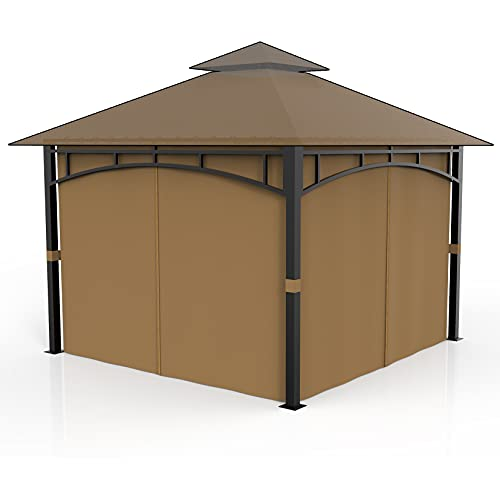 Gazebo Privacy Curtains Side Wall 4-Panels Universal Replacement for Patio, Outdoor Canopy, Garden and Backyard Khaki (Only Sidewalls) (12