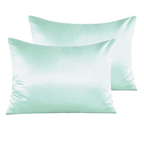 NTBAY Zippered Satin Pillow Cases for Hair and Skin, Luxury Standard Hidden Zipper Pillowcases Set of 2, 20 x 26 Inches, Cyan