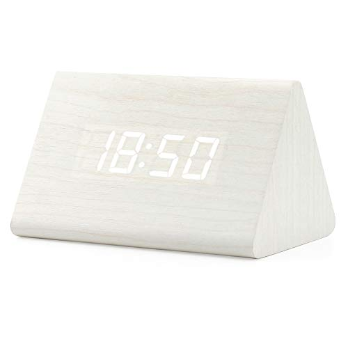Oct17 Wooden Wood Clock, 2020 New Version LED Alarm Digital Desk Clock Adjustable Brightness, Alarm Time, Displays Time Date Temperature - White (White Light)