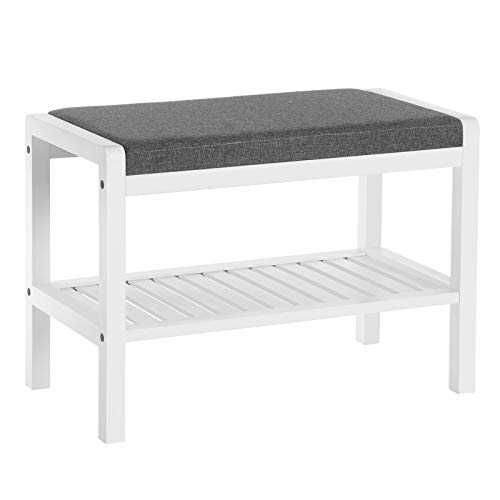SONGMICS Shoe Rack Bench with Cushion Upholstered Padded Seat, Storage Shelf, Shoe Organizer, Holds Up to 350 Lb, Ideal for Entryway Bedroom Living Room Hallway Garage Mud Room White ULBS65WN