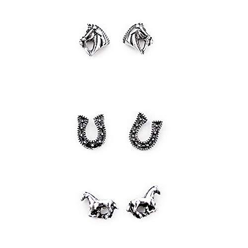 Set of 3 Horse Earrings-Silver