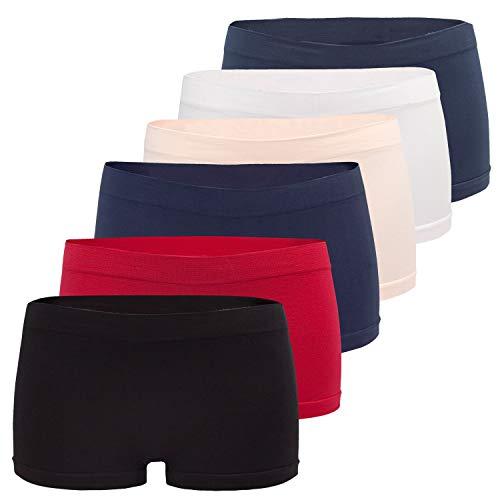 Fabio Farini Damen Panties 6er Pack Hipsters Boxershorts nahtlos, Seamless aus weichem Microfaser-Gewebe Multifarb Set L-XL