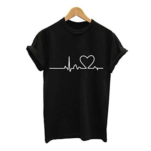 Damen Kurzarm T-Shirt mit Print Drucken Vintage Oberteile Frauen Sommer Top Kurzarm mit Rundhals-Ausschnitt Bandage Casual Bluse Elegant Hemd Mode Chic