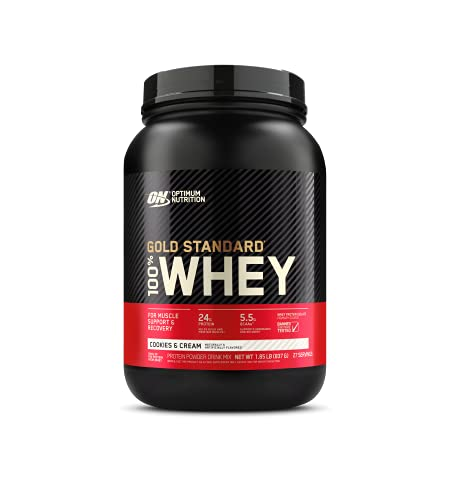 Optimum Nutrition Gold Standard 100% Whey Protein Powder, Cookies & Cream, 1.85 Pound (Package May Vary)