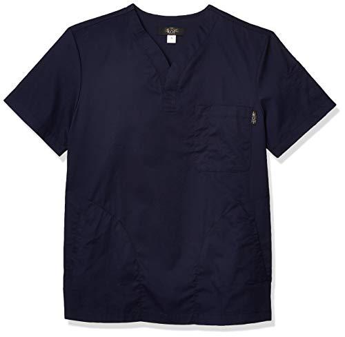 KOI Jason Henley-Neck Men's Scrub Top with 4 Pockets and Pen Slot, Navy, X-Large