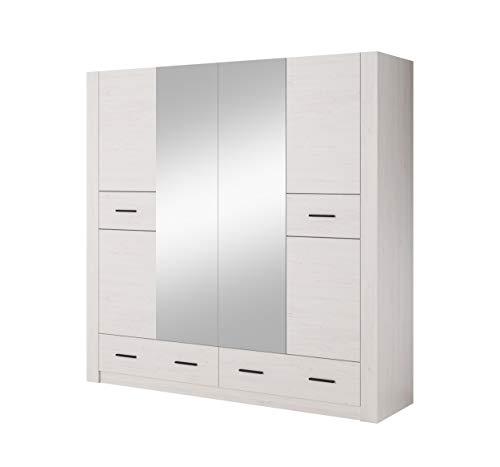 MOEBLO Kleiderschrank mit/ohne Spiegel mit Zwei Schubladen Schrank für Schlafzimmer 4 Türig - Decor: Andersen Kiefer - Verno (Mit Spiegel)