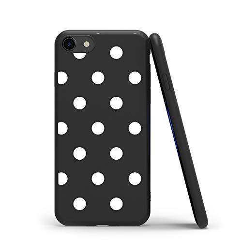 ZhuoFan Funda para iPhone SE 2020 / iPhone 7/8 / 9, Cárcasa Silicona Ultrafina Negra con Dibujos Diseño Suave TPU Antigolpes de Protector Piel Case Cover Fundas para Apple iPhone 7, Lunares Blanc