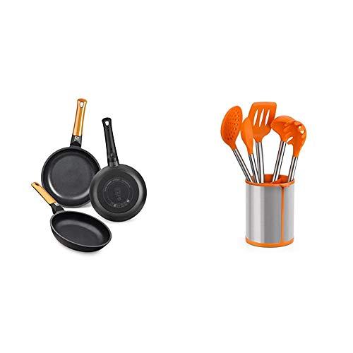 BRA Efficient Orange Set de 3 sartenes, Aluminio Fundido + Efficient Conjunto De 5 Utensilios De Cocina Y Carrusel, Acero INOX, Nailon y Silicona, Naranja, 14.5 x 15 x 37.5 cm