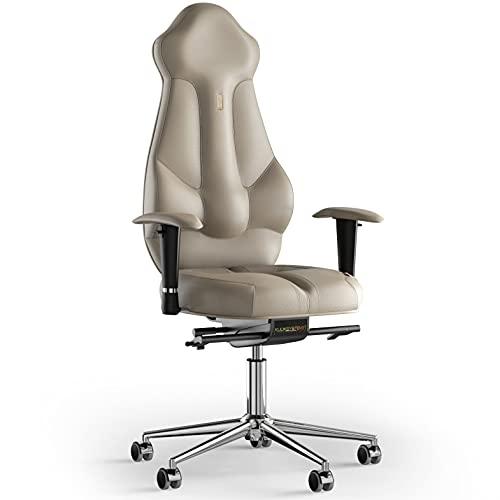 KULIK SYSTEM Imperial - Silla de escritorio para ordenador con respaldo y cojín de asiento ergonómico patentado, silla de oficina ergonómica, piel (beige)