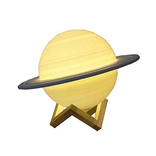 Abcsea 3d Saturn Nachtlicht mit 7 Farben, Mondlampe 3d mit Stecker, Mondscheinlampe, Saturn Lampe 3d 12 cm