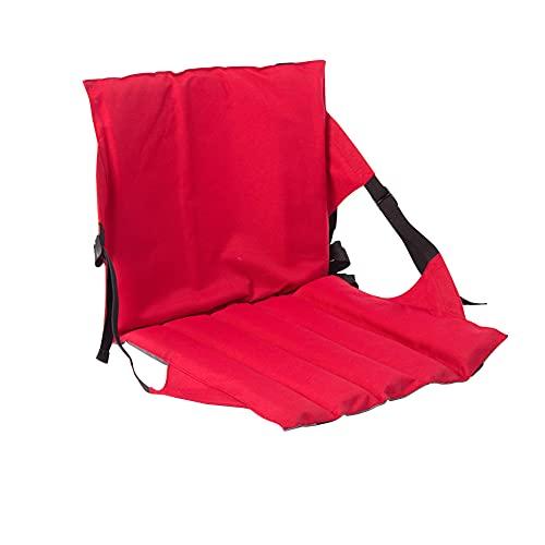 SueSupply Sitzkissen Sitzmatte Mit Rückenlehne Faltbar Klappbar Thermokissen Stadionkissen Bodenkissen für Kinder Erwachsene Senioren zum Ausflug Camping Wandern Outdoor Dick Gepolstert Robust,Rot