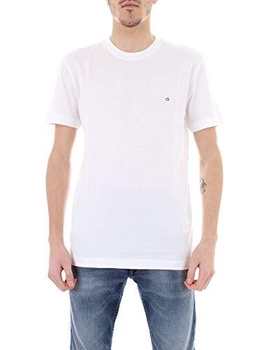 Calvin Klein CK Bordado De La Insignia del Equipo De La Camiseta De Los Hombres del Cuello, Blanco
