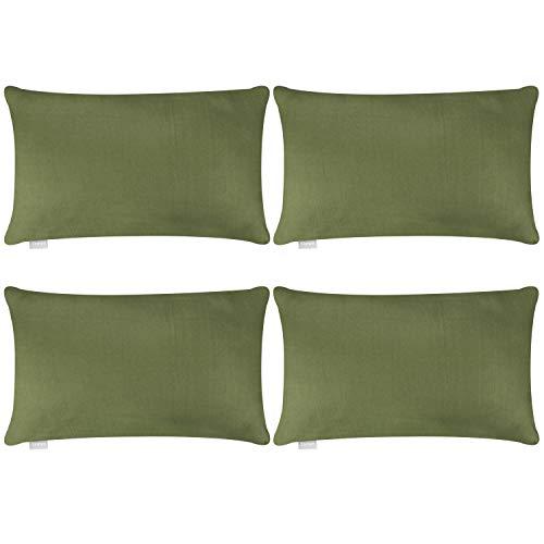 Juego de 4 fundas de almohada, de algodón, cómodas, decorativas, fundas de almohada rectangulares, fundas de almohada para cojín lumbar (solo funda, sin relleno) (30 x 50 cm, verde oliva)