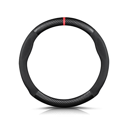 Ergocar Forma Rotonda Fibra di Carbonio e Pelle PU in Microfibra Coprivolante Antiscivolo Coprivolante per Auto Universale Sport Traspirante Per diametro 38 cm(15')-Nero Rosso
