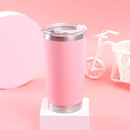 Ssskl Vacío de 600 ml Vacío de Hielo/Agua Caliente Doble Aislamiento Taza Taza portátil Taza Botella-600ml_Rosa