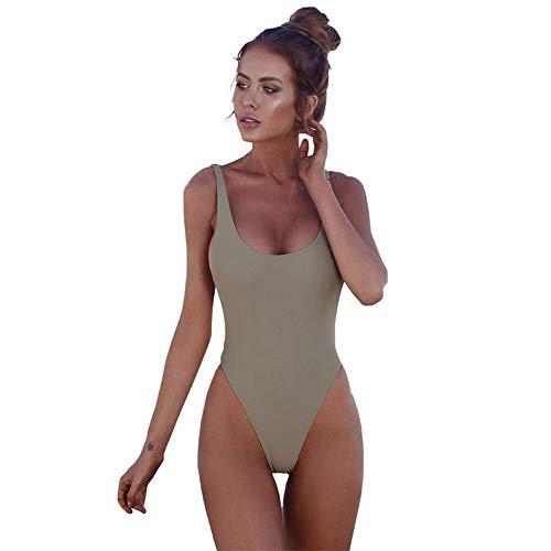 ZXLIFE@@ gewatteerde badpak, vrouwen zwemmen kostuum backless badpak sexy zwemkleding badpakken Bikini Sets met grote elastiek voor strand partij zwemmen etc L Groen