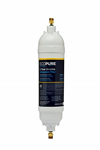 "EcoPure EPINL30 5 Year in-Line Refrigerator Filter-Universal Includes Both 1/4"" Compression and Push to Connect Fittings"