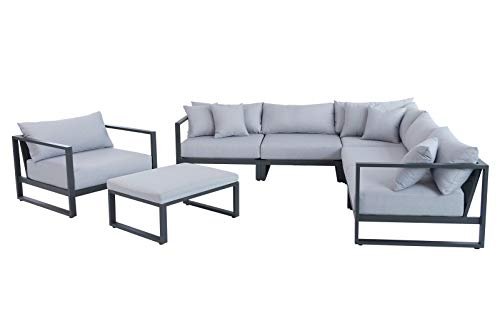 OUTFLEXX Loungemöbel, anthrazit/hellgrau, Alu/Polyester, 85x65cm, 7 TLG, 6 Pers, inkl. Polster