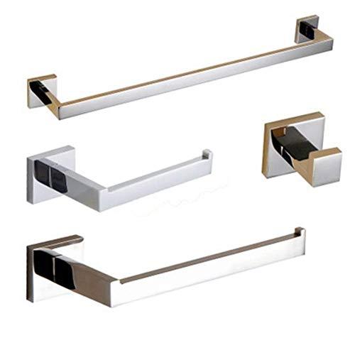 Pkfinrd 304 Accesorios de Acero Inoxidable Accesorios de baño Kit Toalla Rack Toalla Bar Roll Holder Ropa Hook Matte Black Mirror Storage Rack (Color : Glossy)