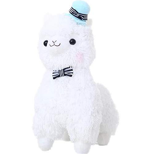 Trayosin Alpaka plüsch Spielzeug Alpaka-Puppe süße weiche Kuscheltiere Spielzeug, Weiß, Pink, Hellgelb, Rainbow (Blauer Hut,35cm)
