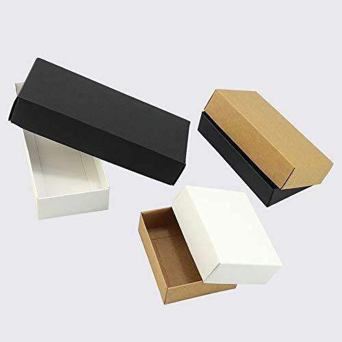 CTOBB Lot de 10 boîtes Cadeau en Papier Kraft Blanc avec Couvercle, Kraft, 340x220x48mm