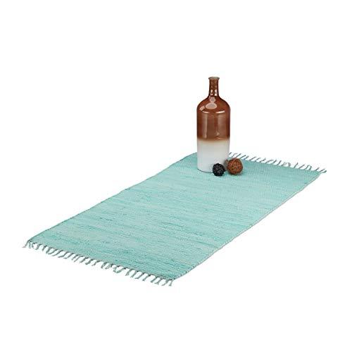 Relaxdays Flickenteppich mit Fransen, handgewebter Wohnzimmerteppich, Webteppich aus Baumwolle, 70 x 140 cm, hellblau