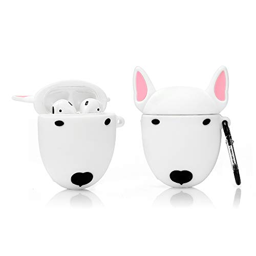 LEWOTE Airpods Silicone Case Cover Compatible for Apple Airpods 1&2[Cute Pet Design][Best Gift for Girls or Boys Man Woman] (Bull Terrier Dog)