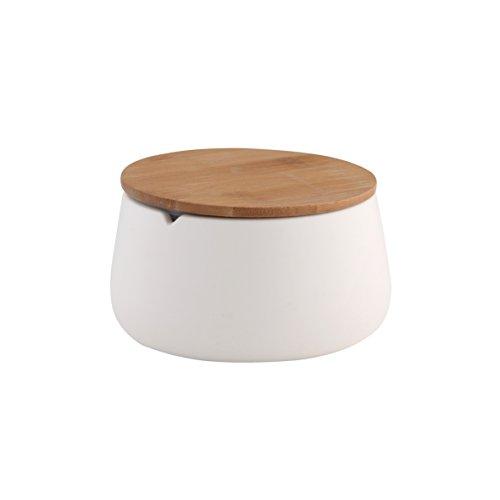 axentia Utensilienbecher Bonja Wellness, Vorratsdose in Weiß mit hellbraunem Bambusdeckel, Aufbewahrungsbox ideal fürs Bad, Maße: ca. 12,5 x 12,5 x 6,5 cm