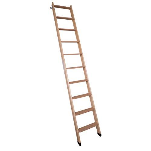 DOLLE Hochbettleiter aus Holz mit 10 Stufen | Geschosshöhe bis 245 cm |In Natur oder Weiß lackiert | Breite: 40 cm | inkl. Fußkappen | Buche Stufen | Kiefer Holm | Anstellleiter (Naturbelassen)
