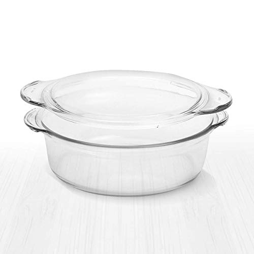 Clear Round Glass Casserole by Simax | Deep Dish, With Lid, Heat, Cold and Shock Proof, Microwave, Oven, Freezer, and Dishwasher Safe, Made in Europe (1.5 Quart)