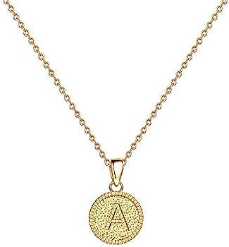 Iefshiny Women's Heart Initial Letter Necklaces
