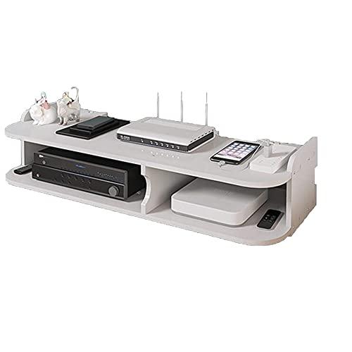 Estante para Decodificador,Estantes Flotantes,Estante para Enrutador de Madera,Caja de Almacenamiento Wifi para Sala de Estar,Caja Organizadora de Enchufe para Cable/White / 55x20x13cm