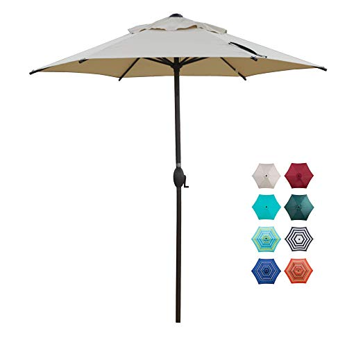 Abba Patio 7.5ft Patio Umbrella Outdoor Umbrella Patio Market Table Umbrella with Push Button Tilt and Crank for Garden, Lawn, Deck, Backyard & Pool, Beige