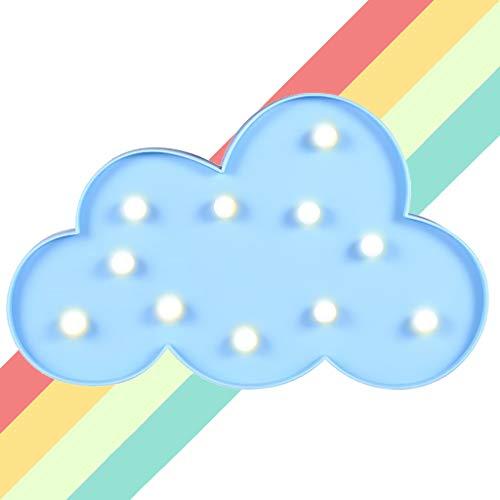 XIYUNTE Luci notturne a forma di luna - LED Blu nuvola Lampada da tavolo 3D carino applique da parete Luci notturne per bambini, (Batteria Operated) Lampe de chevet home decorativa