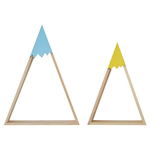 Estantería de pared azul de estilo nórdico. Estante doble flotante triangular de pared. Estantería flotante de habitación de niños y bebés, salón. Estantes de pared de madera para almacenamiento.