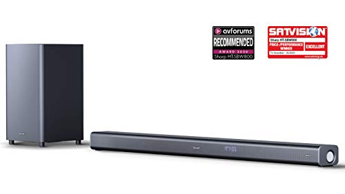 SHARP HT-SBW800 - Barra de Sonido con Subwoofer inalámbrico, Bluetooth, Sonido Surround 3D y experiencia 4K, HDMI ARC/CEC y Potencia Total de 570 W, Color Negro