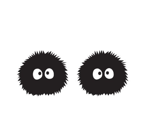 """TOTORO DUSTMITES FROM STUDIO GHIBLI ANIME VINYL STICKERS SYMBOL 5.5"""" DECORATIVE DIE CUT DECAL FOR CARS TABLETS LAPTOPS SKATEBOARD - BLACK"""