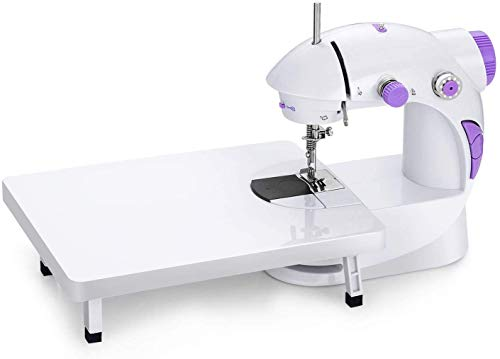 Milford Mini Sewing Machine with Extension Table for Home Tailoring Portable Stitching Tailor Silai Machines (Sewing Machine with Stand,White)