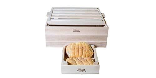 Porta Pane con Tagliere + cassettina Porta Pane, Contenitore in Legno per Pane, Il Coperchio Diventa Tagliere raccogli briciole