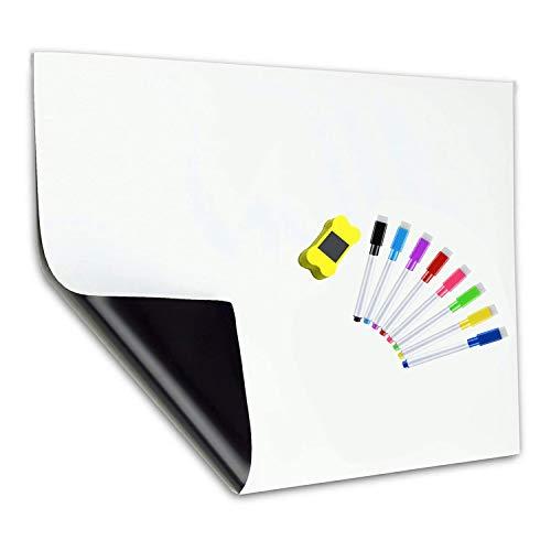 OVBBESS Pizarra blanca magnética para nevera, tamaño A3, para el hogar, cocina, menú, lista de compras, recordatorios