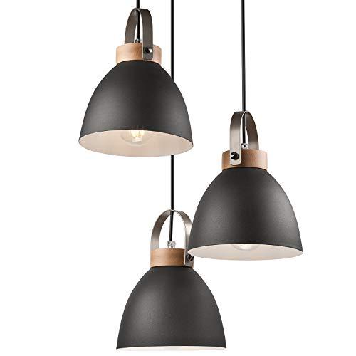 JVS Pendel-Leuchte Decken-Leuchte aus Metall E27 Hänge-Leuchte Vintage Industrieleuchte Wohnzimmerlampe Modern Wohnzimmer mit Kabel Vintagelampe für Wohnzimmer/Küche/Büro/Praxis (Graphite, 3-flammig)